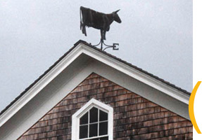 Cow weathervane by Travis Tuck, 2001. Photo by Maggie Holtzberg.