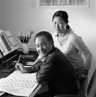 Qianshen Bai (sitting) and Wen-hao Tien, Chinese seal carving and calligraphy, 2007; Chestnut Hill, Massachusetts; Photography by Billy Howard
