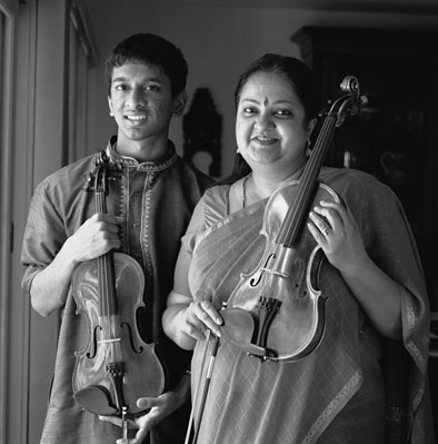 Suhas Rao (left) and Tara Anand Bangalore, South Indian Carnatic violin music, 2007; Framingham, Massachusetts; Photography by Billy Howard