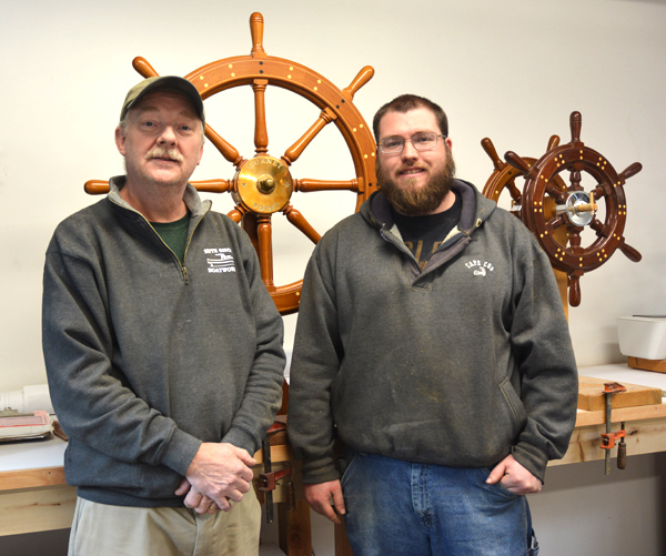 Bob Fuller and his apprentice John O'Rourke, Marine joinery, 2017; Halifax, Massachusetts; Photography by Maggie Holtzberg