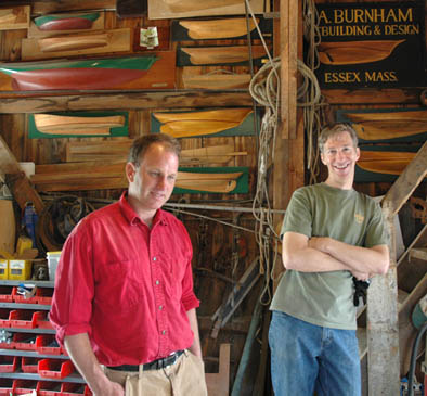 Harold Burnham and Randall Robar, wooden boat building, 2006; Essex, Massachusetts; Photography by Maggie Holtzberg