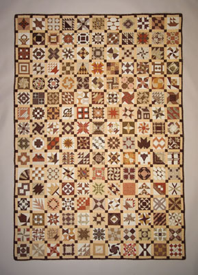 Sampler of Miniatures, Pieced quilt, mid 20th century; Sally Palmer Field (b. 1922); Chelmsford, Massachusetts; Cotton fabric, thread; 72 x 60 in.; Collection of the artist; Photography by Jason Dowdle