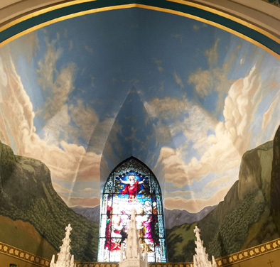 Adirondack Mural painted in the nave of St. Agnes Church, Liturgical painting, 2017; Geoffrey Kostecki; Montague, Massachusetts; Acrylic on plaster and gesso;