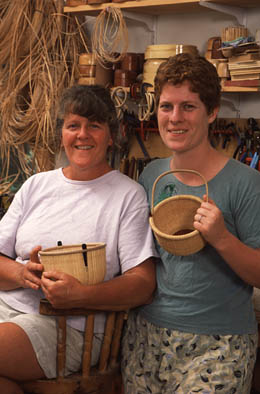 Karol Lindquist and Timalyne Frazier, Nantucket lightship basketry, 2002; Nantucket, Massachusetts; Photography by Jeffrey Allen
