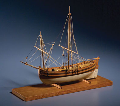 Colonial Bark, Full-hull ship model, 1968; Erik Ronnberg, Jr. (b. 1944); Rockport, Massachusetts; Wood; 8 x 9 x 4 in.; Collection of Hart Nautical Galleries; Photography by Jason Dowdle