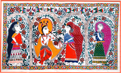 Krishna Charms Gopis with his Flute, North Indian Mithila art, 2016; Acton, Massachusetts;