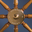 Gurnet Point ship's wheel; Marine joinery; 2007: Halifax, Massachusetts; Wood and brass fitting; 36 1/4 diam x 4 7/8