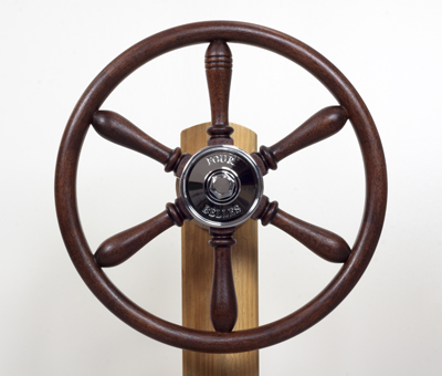 Four Belles wheel; Marine joinery: ; Halifax, Massachusetts; Wood and brass fittings