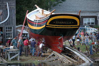 Launch of Isabella; Apprenticeship - wooden boat building; 2006: Essex, Massachusetts