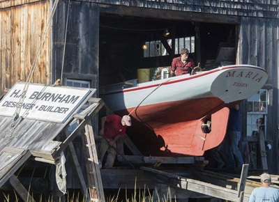 Launch of Maria; Wooden boatbuilding & restoration; 2017: Essex, Massachusetts