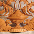 Carving with birds and foliage; Ornamental woodcarving apprenticeship; 2014: Hampden, Massachusetts