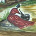 Watercolor of Jibaro rural life; Dollmaking; 2009: Ashland, Massachusetts