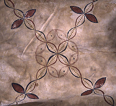 Detail of paint on deerskin; Apprenticeship - Native regalia; 2004: West Barnstable, Massachusetts
