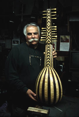 Peter Kyvelos, owner of Unique Strings; Apprenticeship - luthier: bouzouki making; 1999: Belmont, Massachusetts