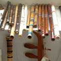 Musical instruments in Penpa Tsering's collection; Tibetan musician; 2014: Bedford, Massachusetts