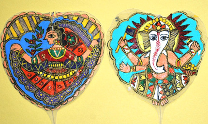Paintings on peepul leaves; Madhubani painting; 2013: Acton, Massachusetts; Acrylic on dried peepul leaves; 4 x 5 inches