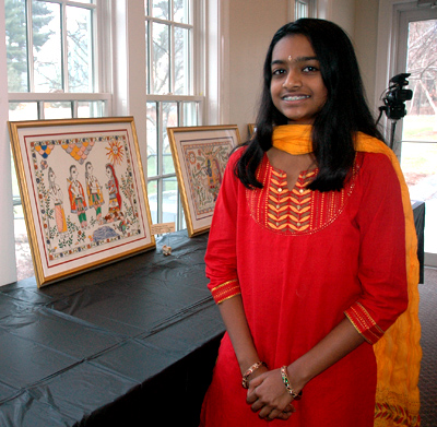 Sanjana with one of her paintings, 2015; Madhubani painting; 2014: Acton, Massachusetts; Acrylic on paper
