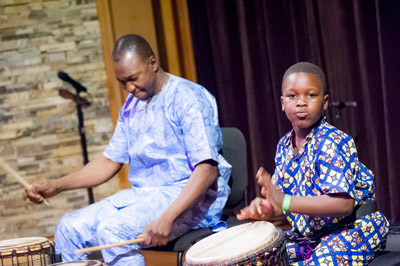 Joh and Tiemoko Camara performing at the Shalin Liu Performance Cen ter; West African Dance; 2017: Rockport, Massachusetts