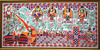 Royal Families  Gamble to Win Kingdom; North Indian Mithila art; 2016: Acton, Massachusetts; Acrylilc on paper